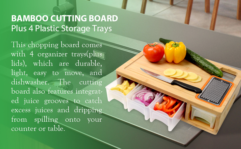 Large Cutting Board Set With Trays