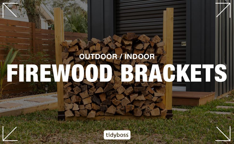 indoor outdoor firewood brackets holders storage