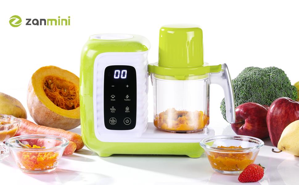 zanmini Robot de Cocina al Vapor Procesador de Alimentos para Bebés, babycook 6 en 1 Multifunción, Vaporizar, Batir, Calentar biberone etc, Autolimpiante, Bajo Consumo, Recetas incluido (se pasa PDF): Amazon.es: Bebé