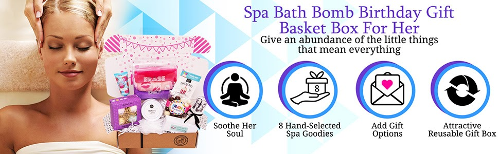 Hey It's Your Day Spa Bath Bomb Birthday Gift Basket Box For Her birthday gift basket gift for her
