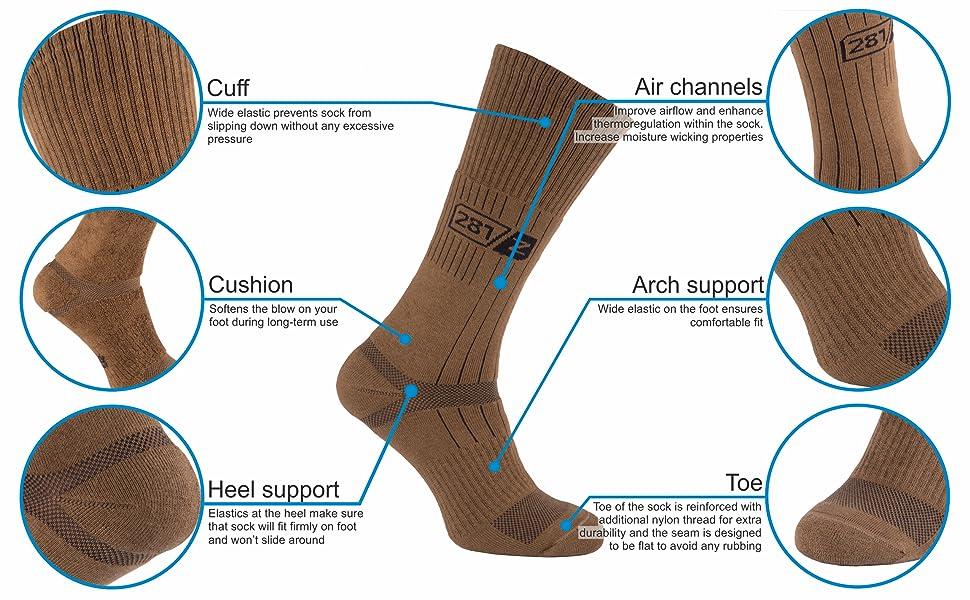 botas militares cojín calcetines senderismo senderismo uniforme al aire libre zapatos cojín algodón nylon ejército táctico