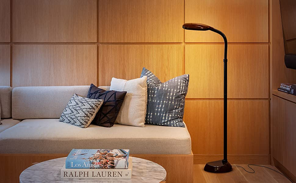 Brightech Litespan LED Bright Reading and Craft Floor Lamp - Modern Standing Pole Light