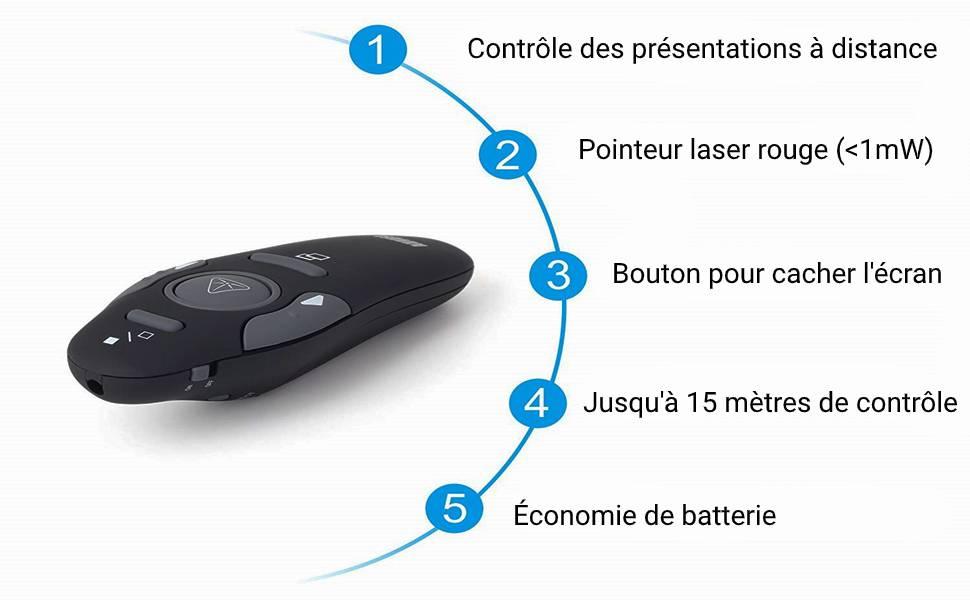 télécommande powerpoint pour présentations de diaporama à distance sur pc et mac sans fil