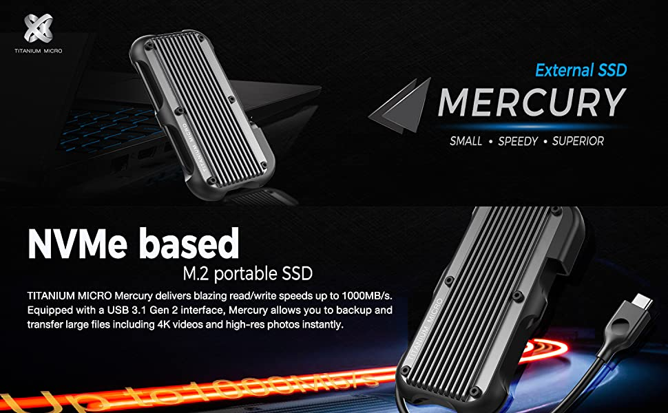 Titanium Micro Mercury external SSD nvme m.2 small speedy superior