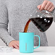 triple insulated 16oz / 475ml stainless steel coffee cup with a handle
