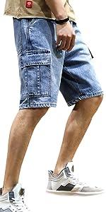 loose fit short pocket men cargo denim jean biker short denim men short casual denim zipper short