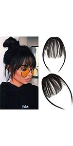 Clip in Bangs Hair Extensions Human Hair Air Bangs with Temples
