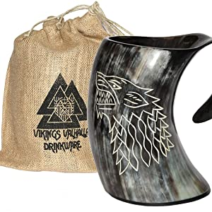 """HONEY BUFFALO HORN GAME OF THRONE MEDIEVAL DRINKING ALE CUP MUG 5/"""" #T-2433"""