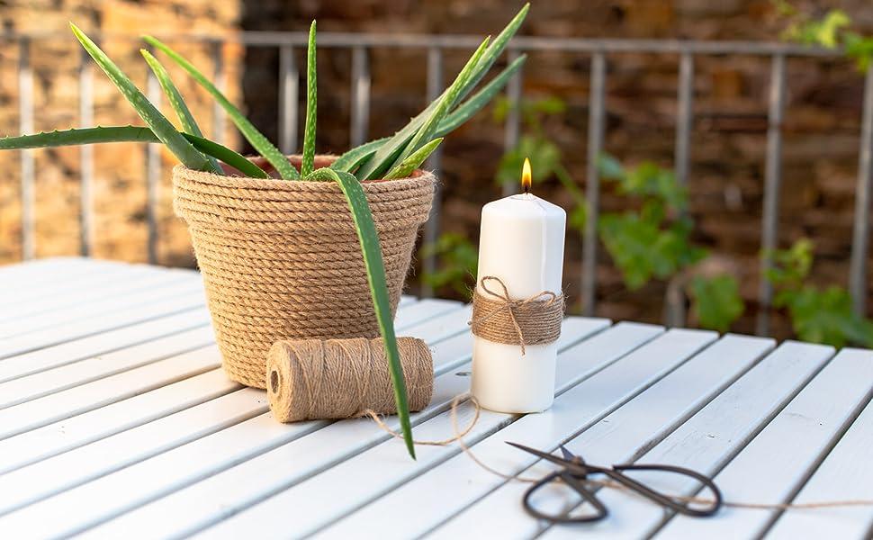 Jute touw DIY kaars versieren jute lint natuurlijke tafeldecoratie natuur buiten tuin koord tuin