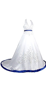 Halter Embroidery Satin Wedding Bridal Dress Corset Back