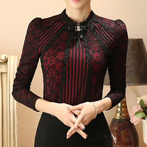 Red long sleeve vintage lace blouse