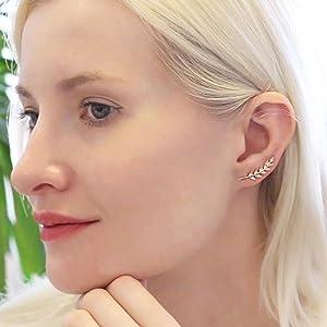 Olive Tiny Leaf Ear Climbers - Delicate Crawler Cuff Stud Jacket Earrings