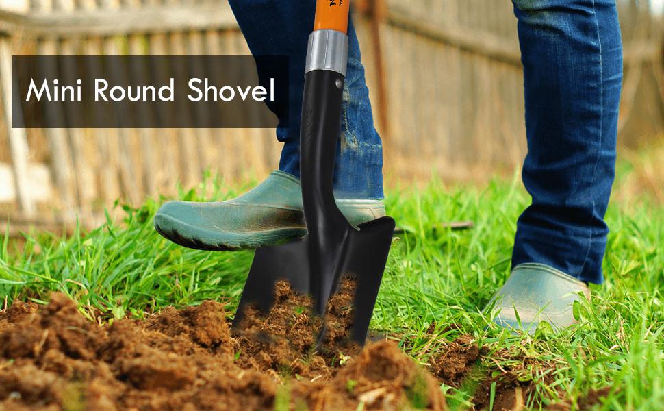 Ashman Mini Round Shovel | 20 Inche Short Handle Round Shovel with D Handle Grip
