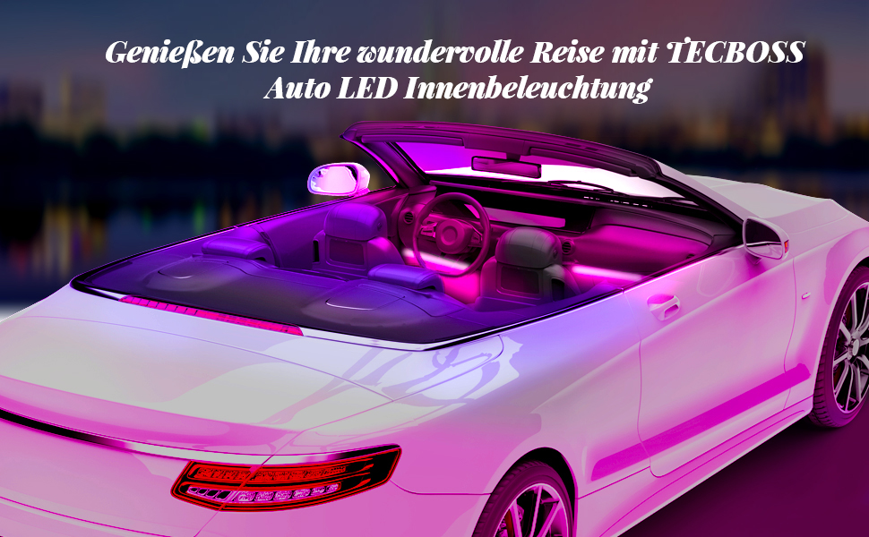 Tecboss Car Led Interior Lighting With 72 Led Beads Waterproof And Multicoloured Music Sound Rhythm Rgb Car Interior Lighting With App Auto