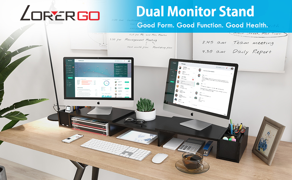 LORYERGO Dual Monitor Stand Riser with Storage Space