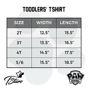 size chart boys girls  paw patrol shirt