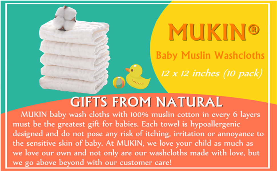 Reusable and Extra Soft Natural Organic Cotton Baby Washcloths /& Wipes-Suitable for Sensitive Skin Baby Registry as Shower Gift Set 6 Pack 10x10 Inches Chuanyue Baby Muslin Washcloths Set
