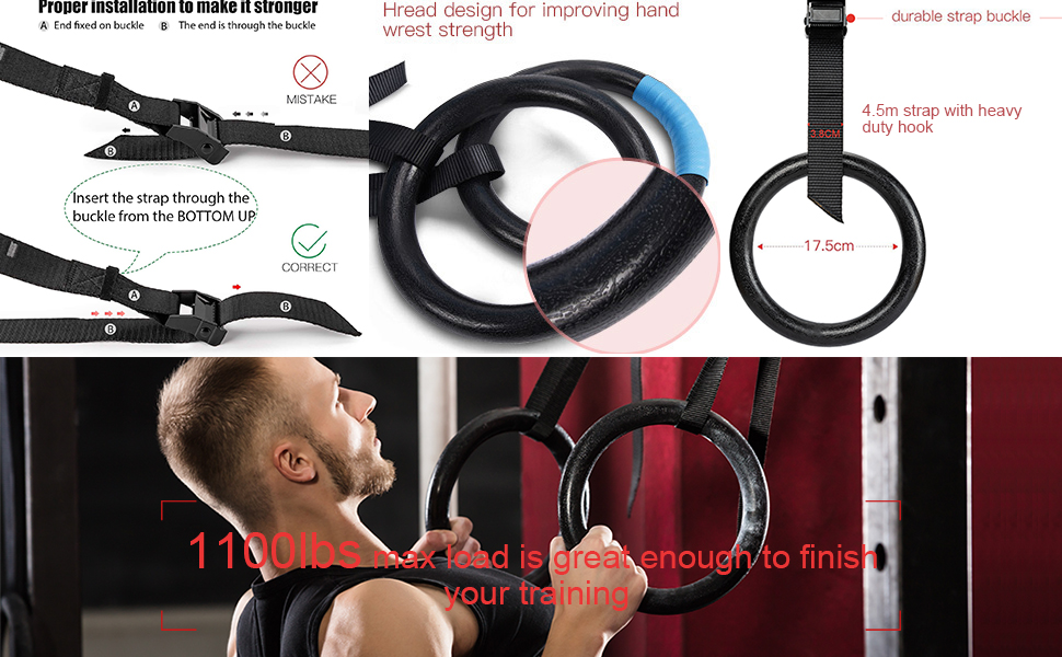 Gymnastic Rings - Bodyweight Workout and Strength Training Olympic Non-Slip Rings Adjustable Straps