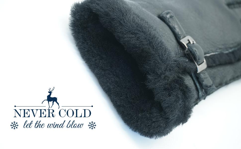 YISEVEN Femmes Hiver Nouveau Gant en cuir peau de mouton dagneau veritable chaud /Épais fourrure Cadeau
