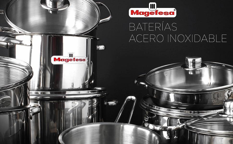MAGEFESA PRACTIKA – Batería de Cocina MAGEFESA PRACTIKA 7 Piezas está Fabricada en Acero Inoxidable, Fondo difusor garantiza una distribución rápida y ...