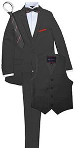 charcoal, dark suit, boys, formal, wedding, party, birthday, custom