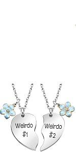 silver weirdo#1 weirdo#2 best friends necklaces
