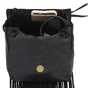 Festival Bag gift for her Fringe Purse Boho leather bag for her Double Pocket Leather Fringe Crossbody bag Western wear
