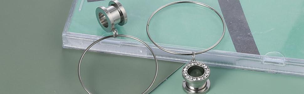 Sainless Steel Ear Plugs Large Hoop Gauge for Ear Tunnels