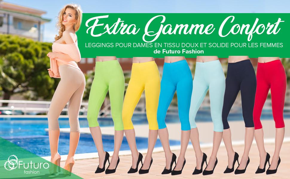 FUTURO FASHION Legging Court en Coton très Confortable Grandes Tailles