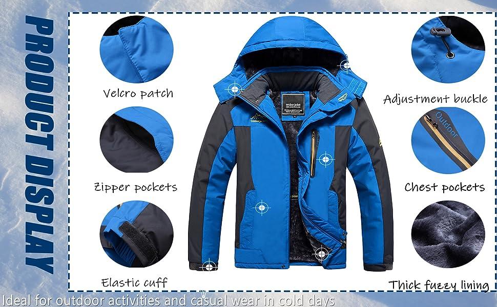 winter snow warm windproof waterproof fleece ski snowboard hiking jacket coat outerwear for men