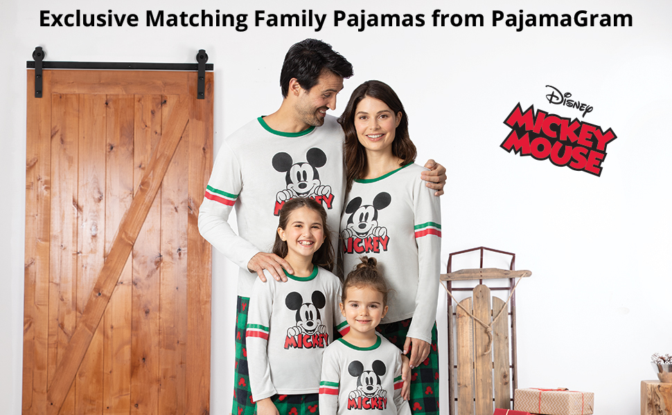 Family in mickey mouse pajamas