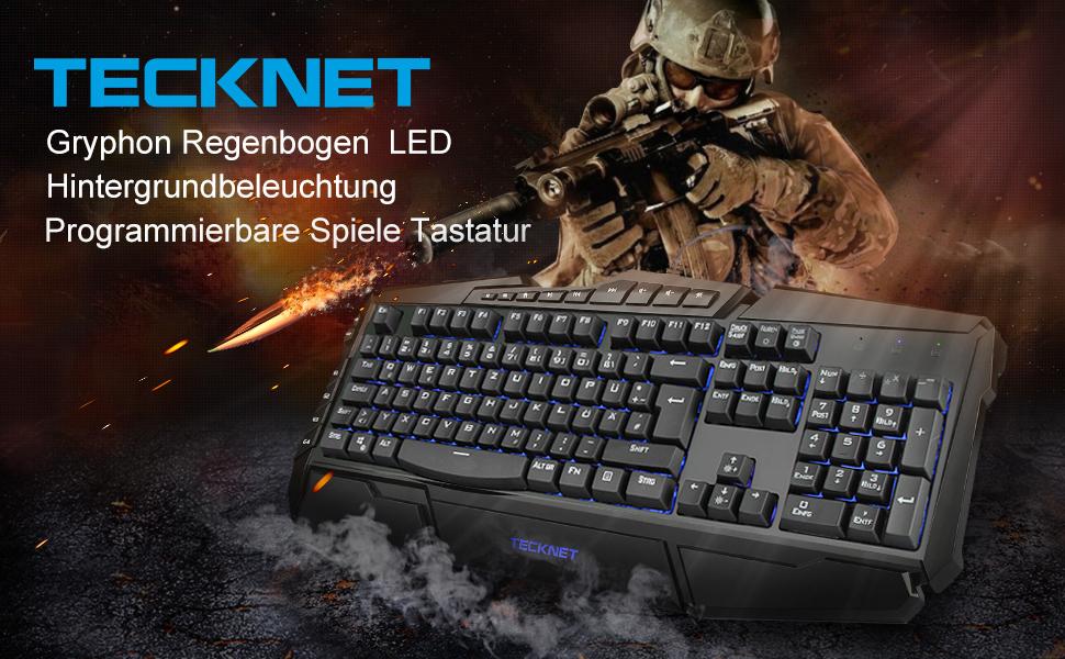 Gaming Teclado, TeckNet LED Illuminated programables Gaming Keyboard, 3 adjustierbare Colores de Fondo, 10 Botones programables, Agua Resistente