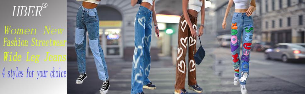 4 styles wide leg jeans