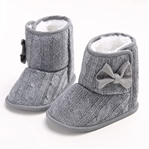 0-6 Months, Grey Annnowl Baby Girls Boots Knitted Crib Shoes with Bow