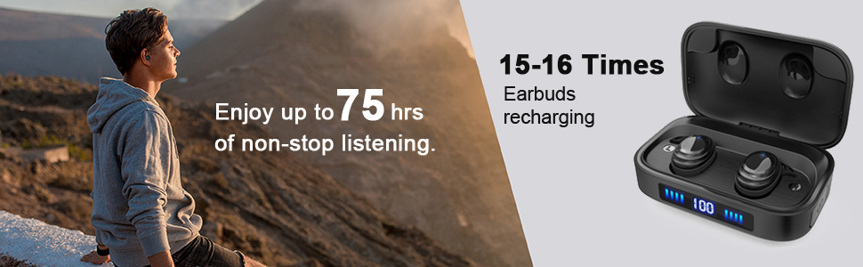 Enjoy up to 75H music time