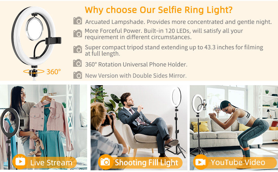 Ring Light with Mirror