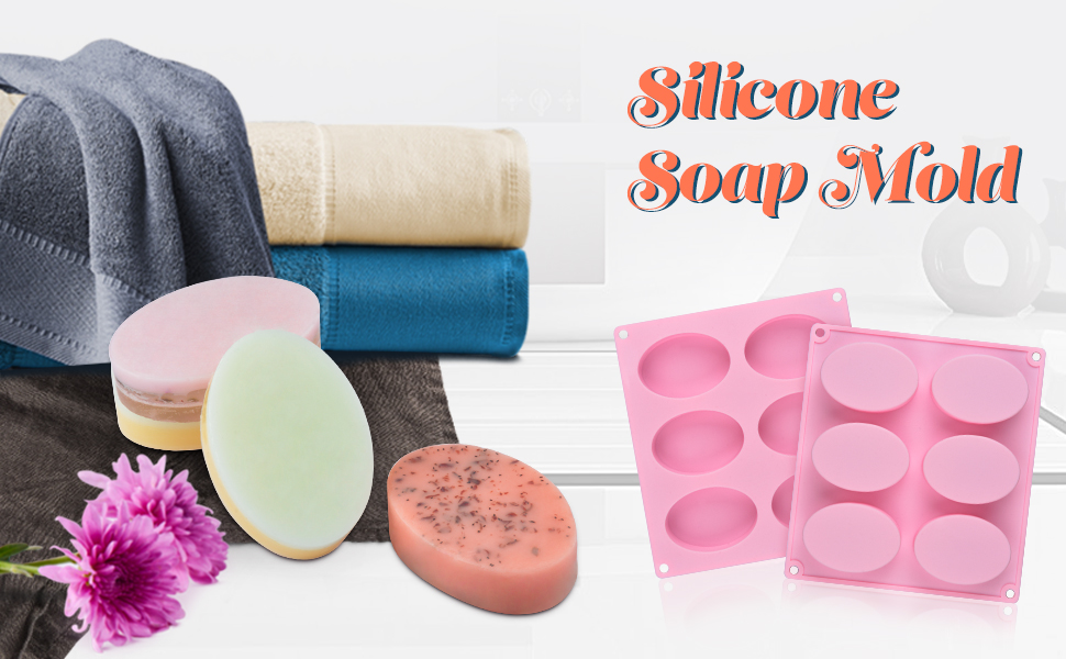 oval silicon mold for soap bar mold soap making supplies resin mold candle mold 6 cup tray