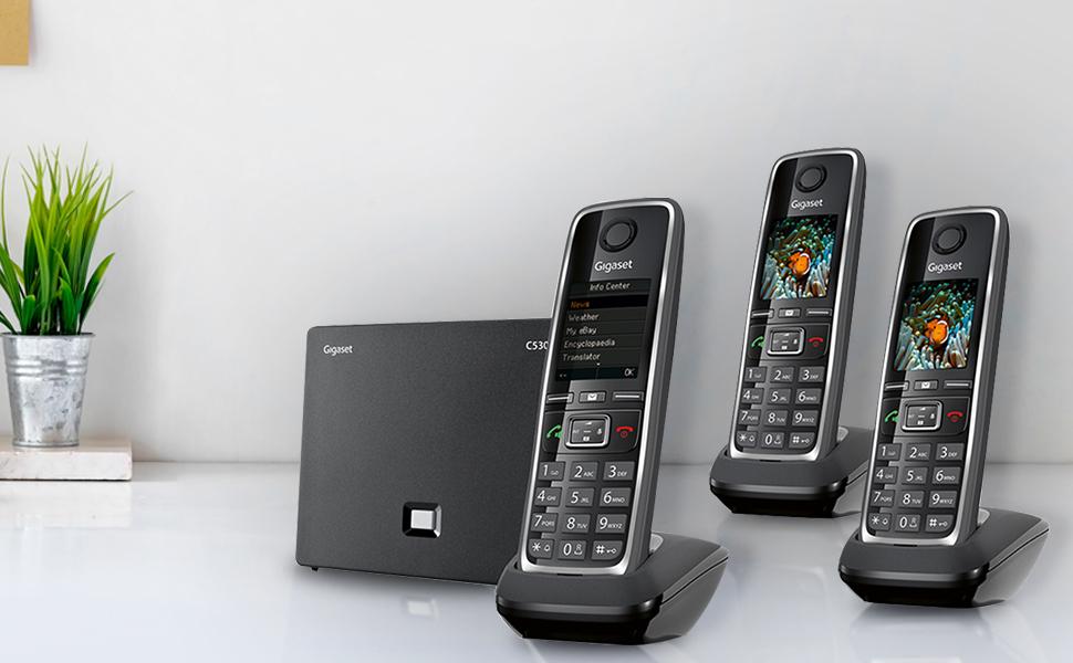 Gigaset German quality landline cordless phone ip sip trio 3 phones set