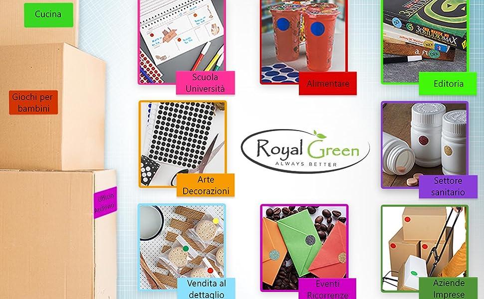 Confezione da 770 Pezzi Royal Green Adesivi Rotondi Rimovibili Verdi da 15mm