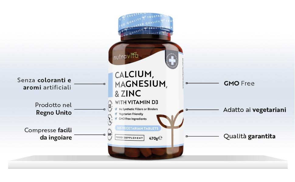 Calcio, Magnesio e Zinco con Vitamina D3