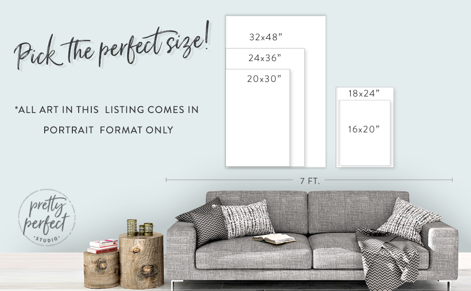 """pretty perfect studio 16x20"""", 18x24"""", 20x30"""", 24x36"""" wall art sizing chart"""