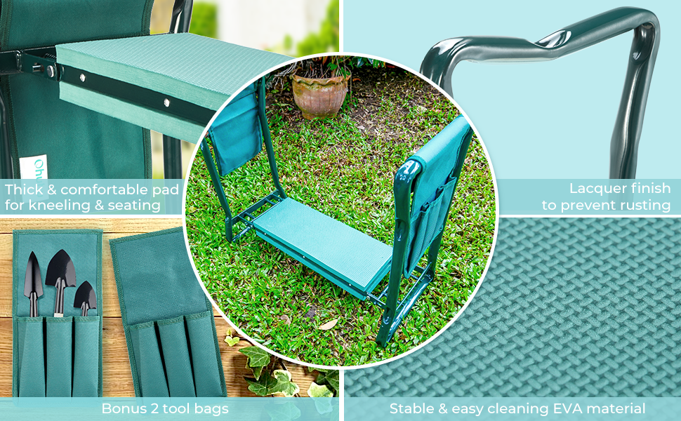 Ohuhu Garden Kneeler and Seat Tool Pouches Foldable Garden Bench Stools Portable Kneeler Gardeners