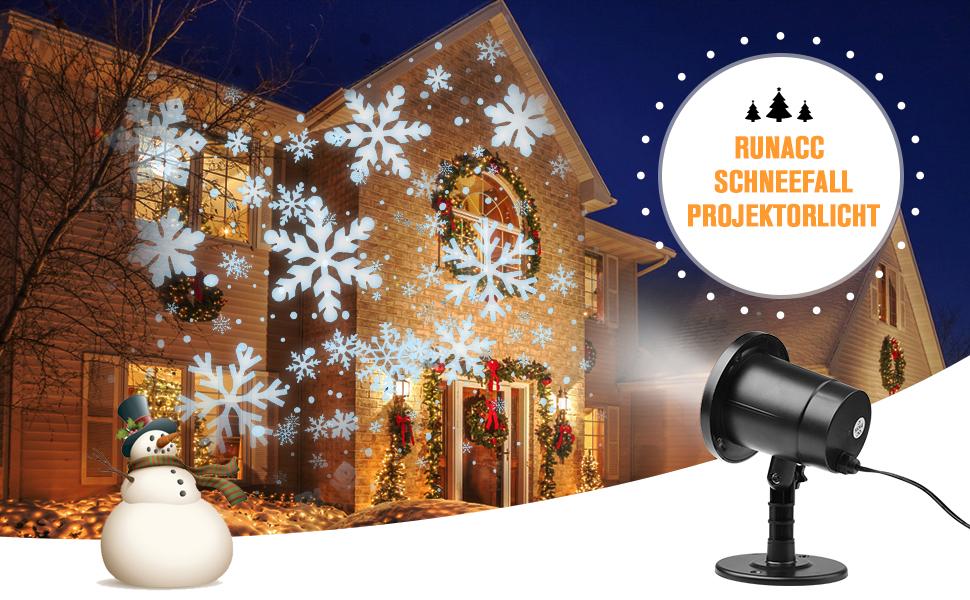 Runacc Snowflake Led Projector Projektorlampe Außen Projektor Weihnachten Outdoor Snowflake Rotating Projector Snowflake Projektor Wasserdichte Weihnachten Licht Projektor Für Outdoor Und Innen Deko Beleuchtung