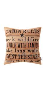 Trendin Cabin Rules Pillow Cover