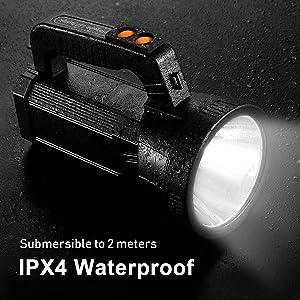 Portable handheld Spotlight & IPX4 Waterproof