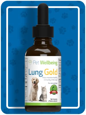 Pet Wellbeing Lung Gold for Dogs - Natural Breathing support for Dogs - 4oz