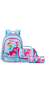 Unicorn School Bags Travel Waterproof Backpack with Lunch Snack Bag Pencil Case