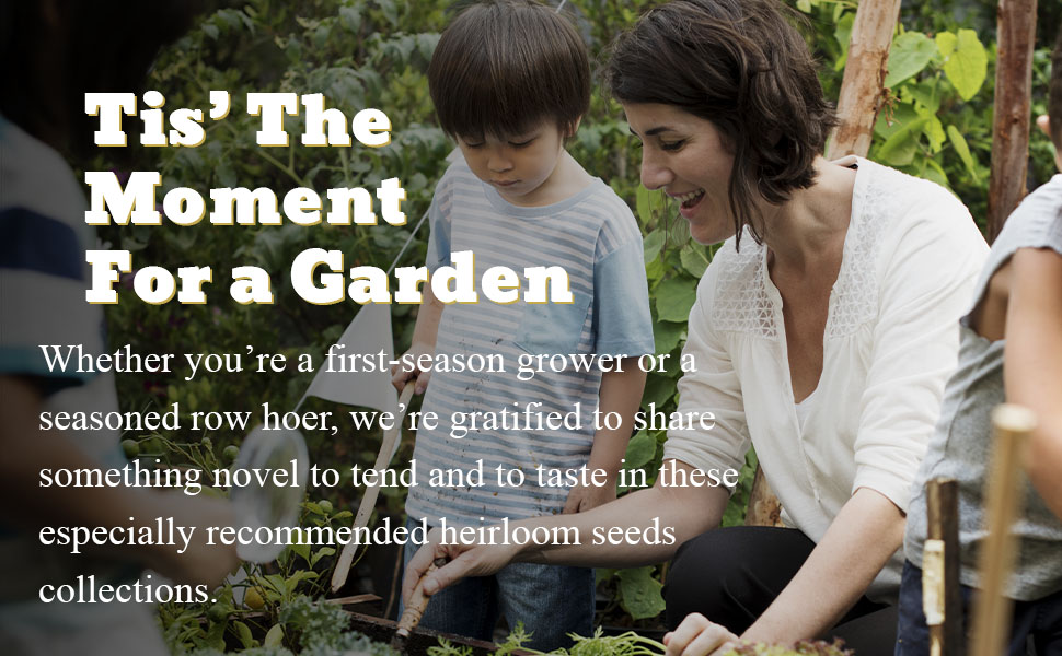 mom and son gardening with copy and text