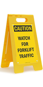 Caution Watch for Forklift Traffic, Folding Floor Sign, High-Impact Plastic