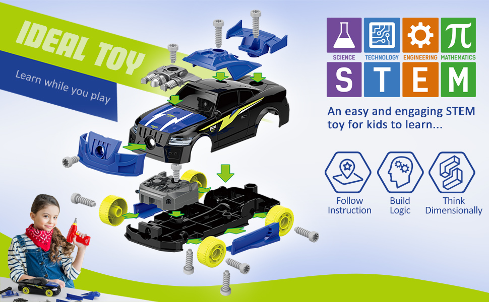 Take Apart Racing Car, DIY Assembly Car Toys with Electric Drill Tool 26 Pic Building Play Set